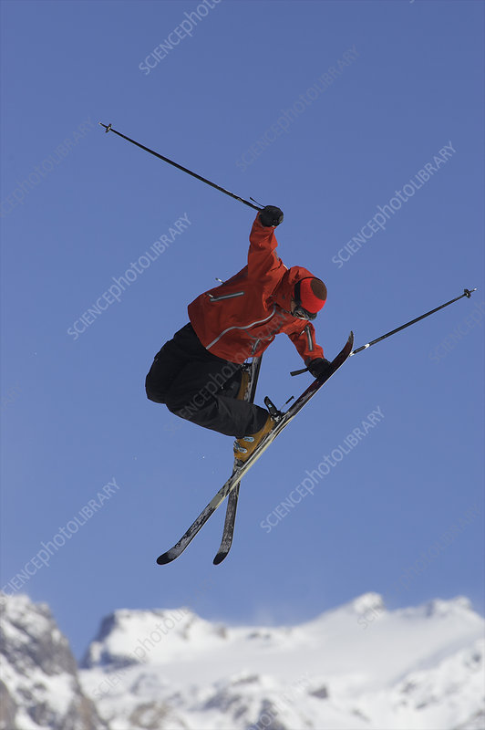 Freestyle skier in mid air