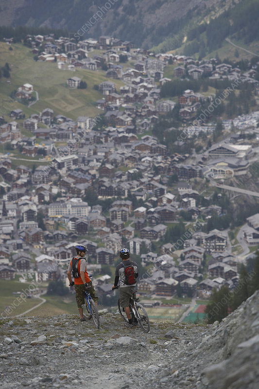 Mountain bikers resting in the alps