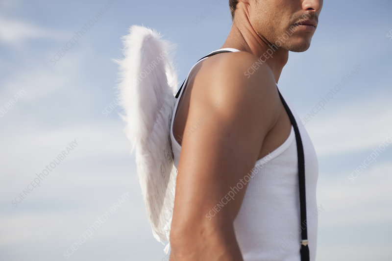man wearing angel's wings