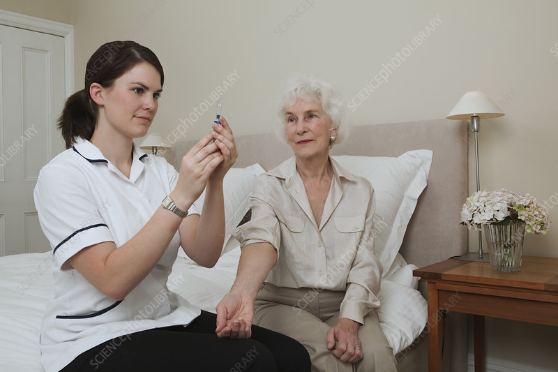 Nurse preparing injection for woman