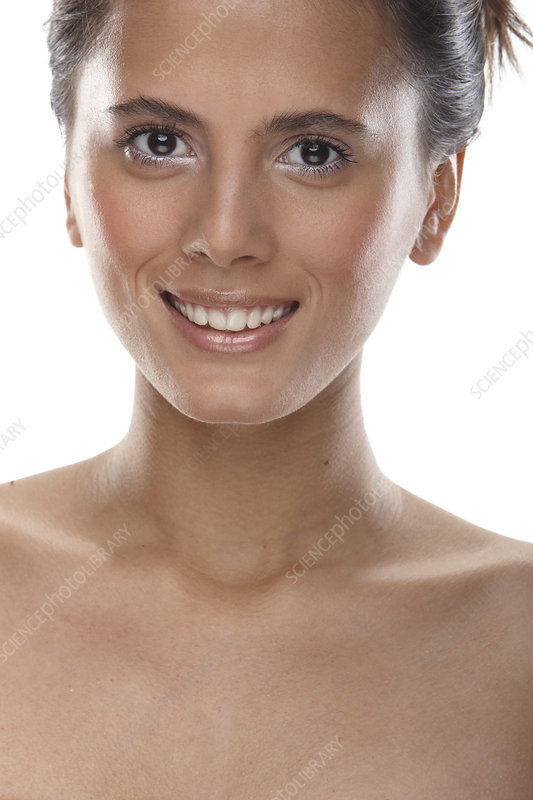 Woman smiling on white background