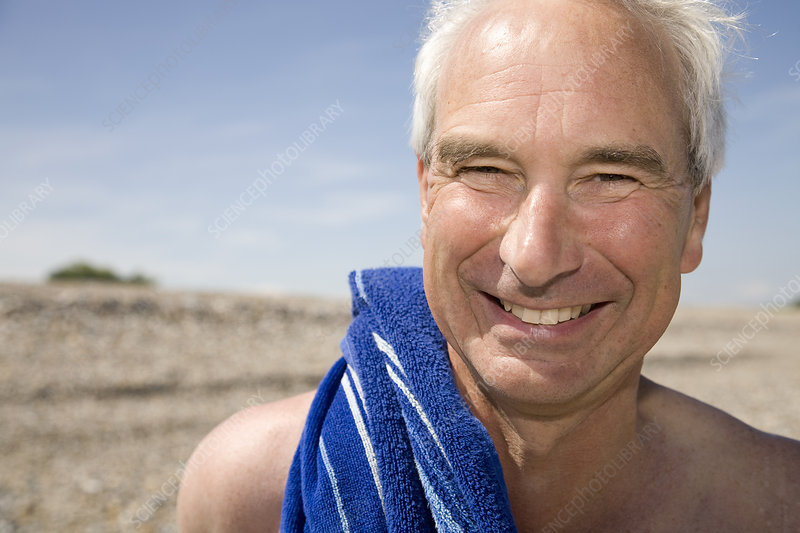 Mature man on beach