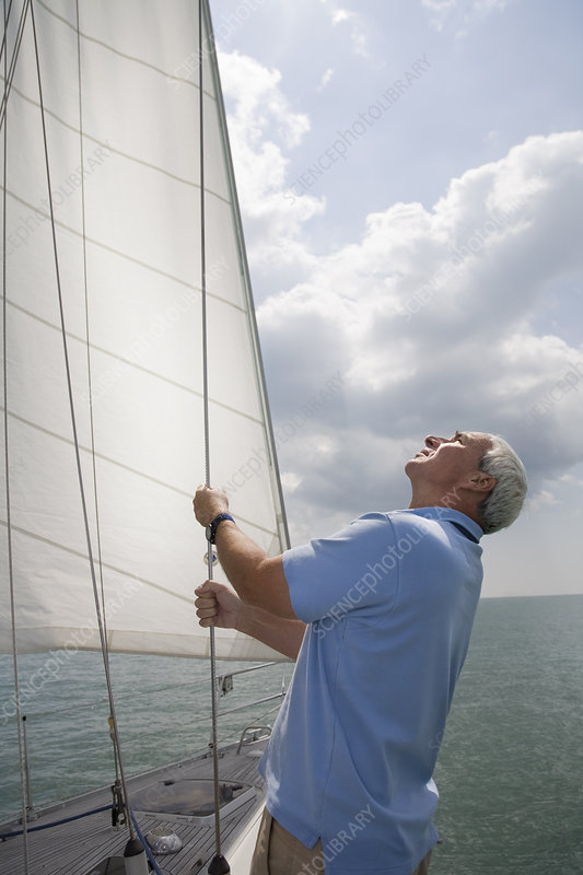 Mature man checking sails on yacht