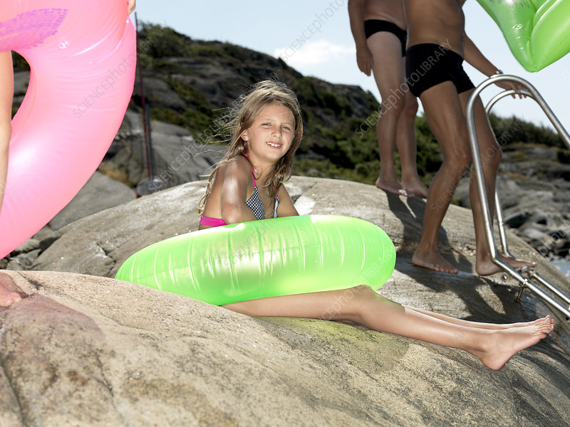 Girl with inflatable ring