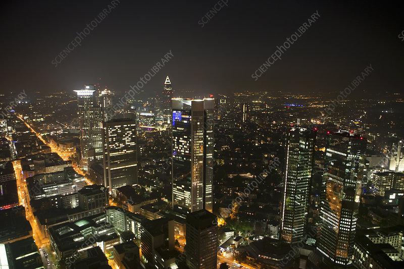Frankfurt city skyline by night