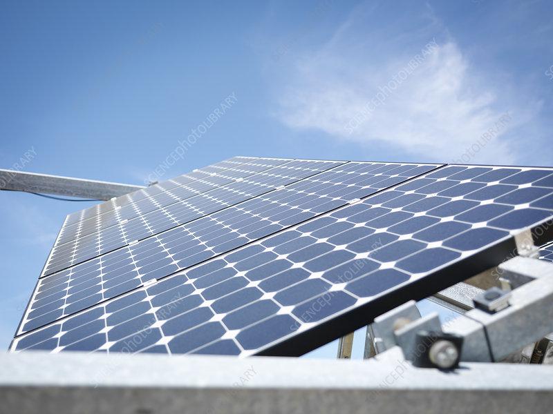 Solar power station, panel close up