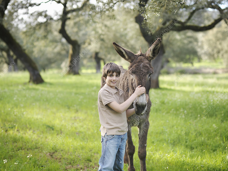 Boy posing with his donkey