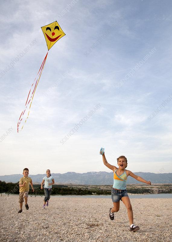 Children flying kite at beach