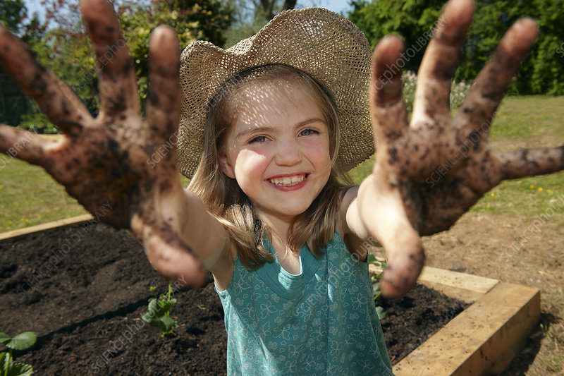 Young girl in garden with muddy hands