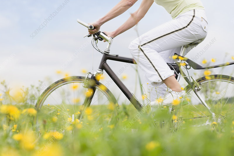 Woman riding bike