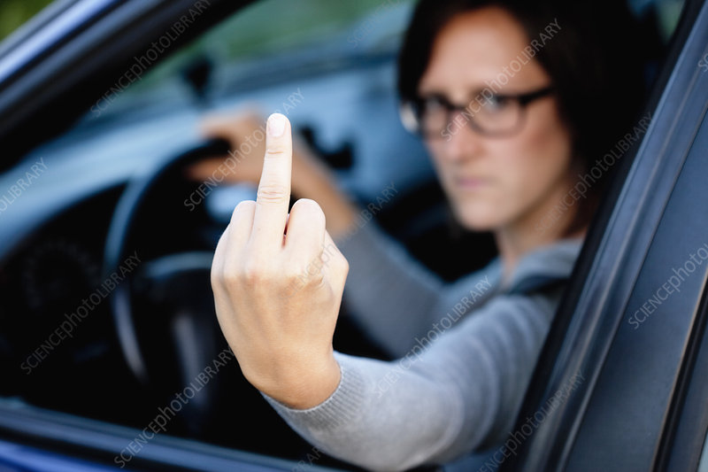 Woman showing bad gesture
