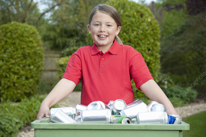 Young Girl With Recycling Container