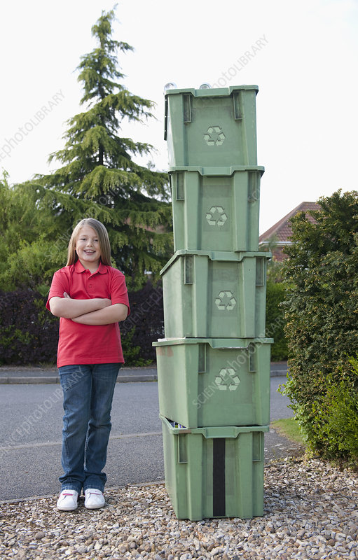 Girl With Recycling Bins