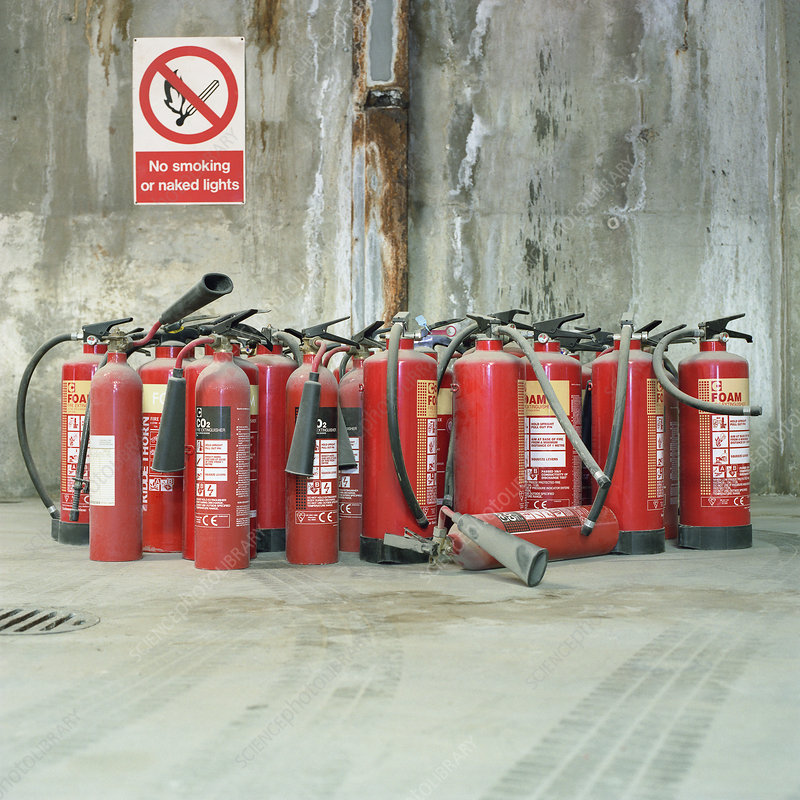 Fire extinguishers and no smoking sign