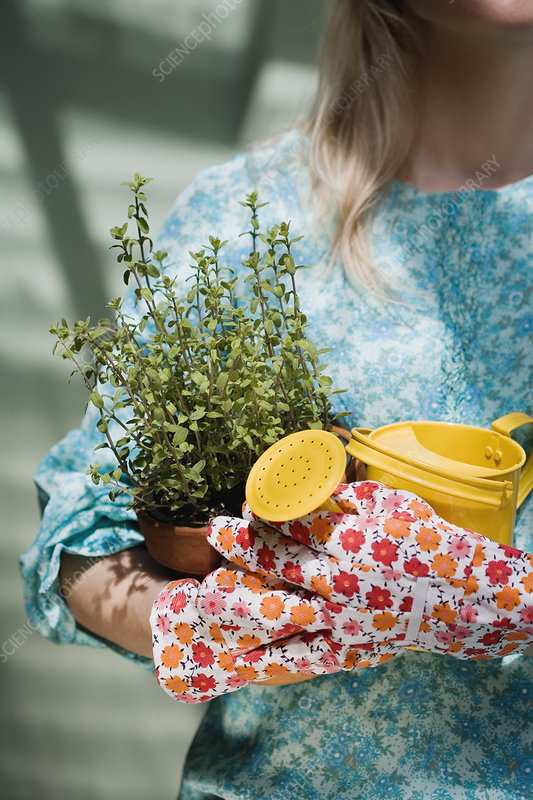 Woman holding watering can and plant