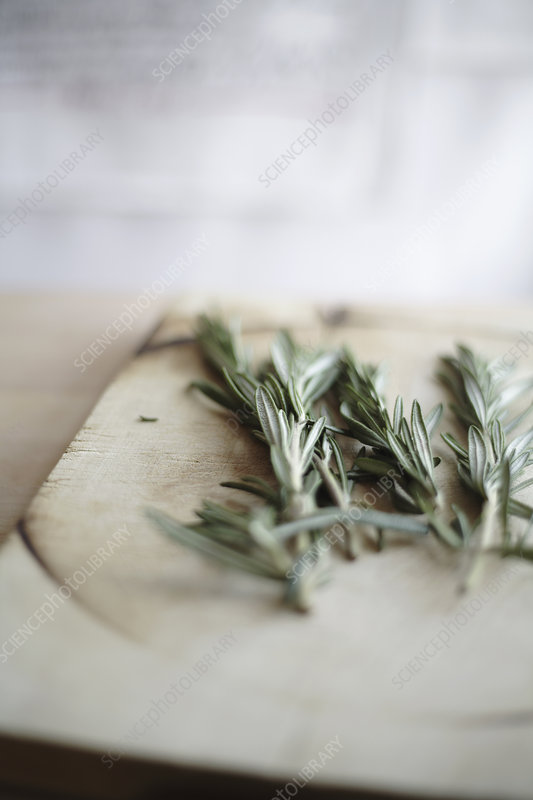 Rosemary branch on cutting board