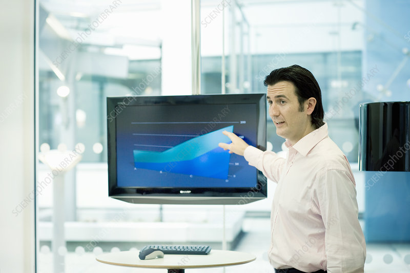 Businessman pointing at presentation