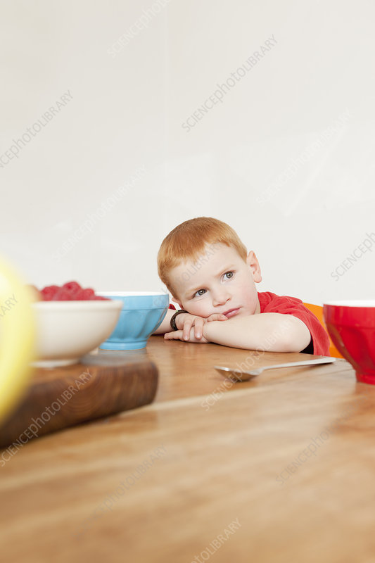 Boy resting his head at dinner table
