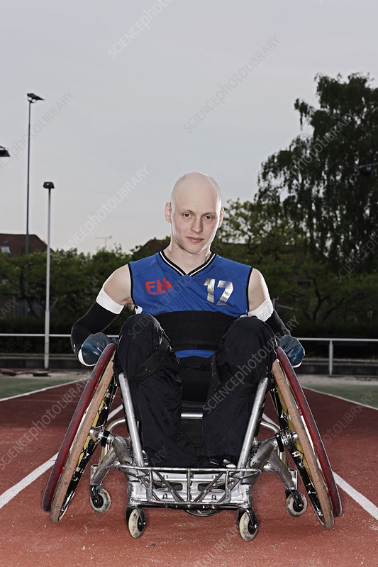 Para rugby player in wheelchair on track