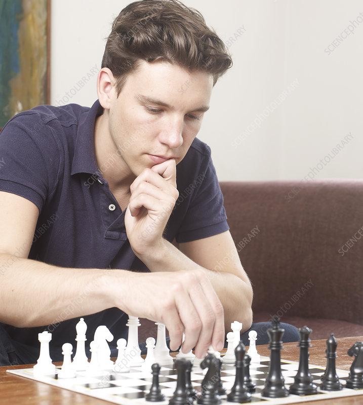 Thoughtful Man Playing Chess Stock Image F004 1099