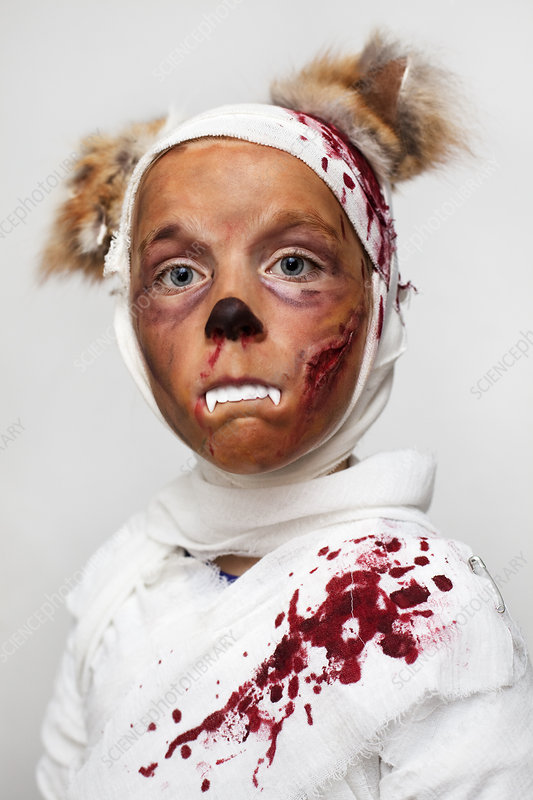 Child in bloody Halloween costume