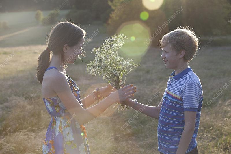 Boy giving girl flowers in field