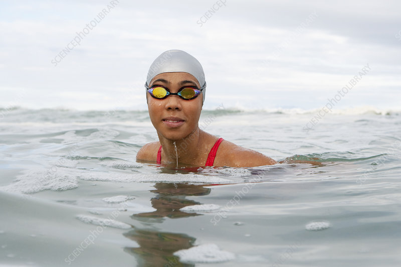 Swimmer wearing goggles in water