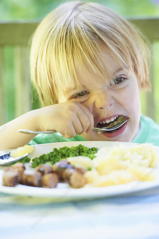 Boy eating vegetables at dinner