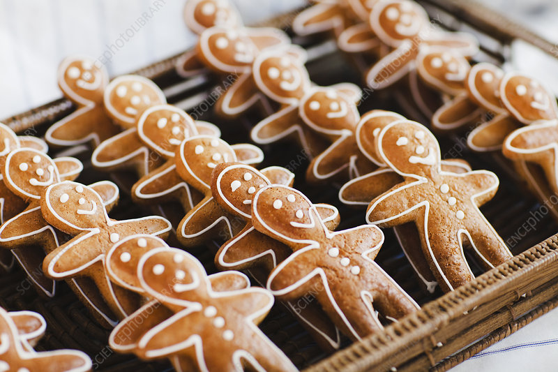 Close up of gingerbread men cookies