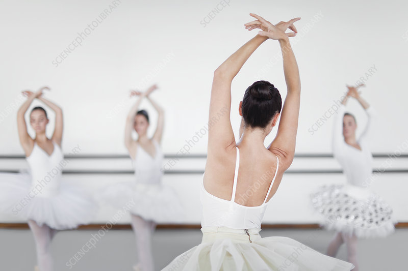 Ballet dancers posing in studio