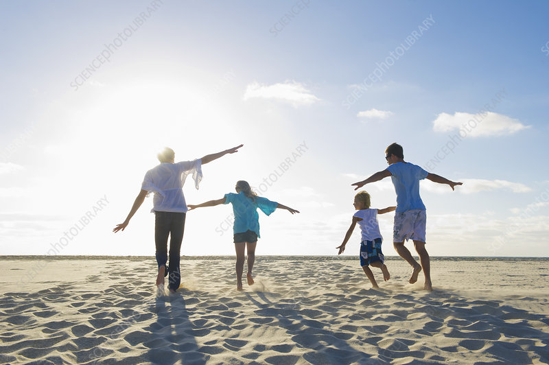 Family playing together on beach