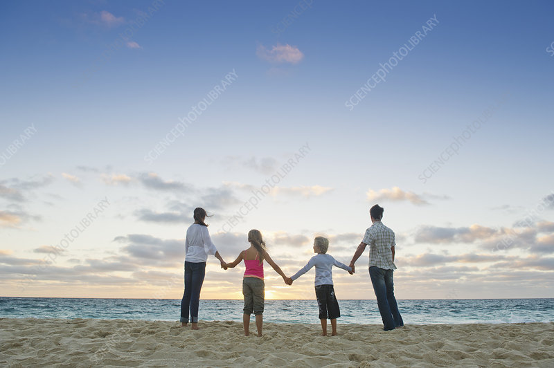 Family standing hand-in-hand on beach