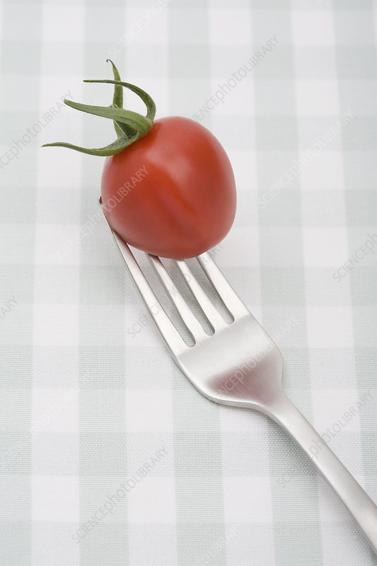 Close up of cherry tomato on fork