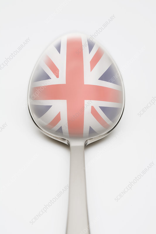 British flag reflected in spoon