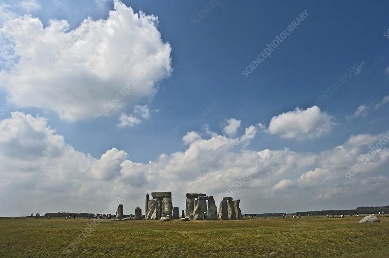 Stonehenge rock formation in field