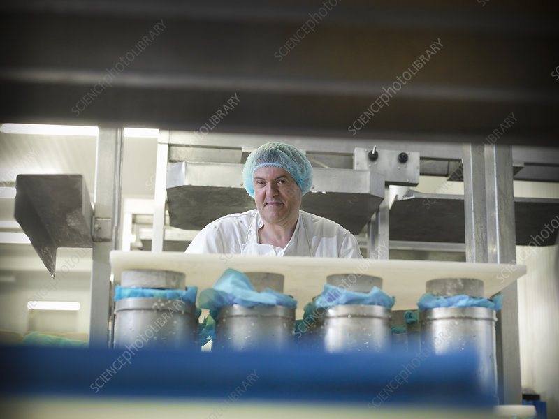 Worker smiling in cheese factory