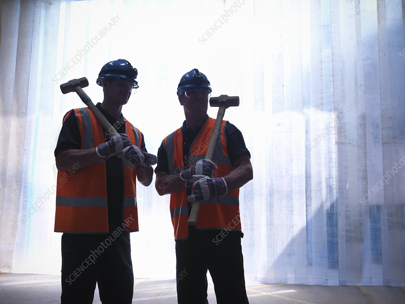 Workers carrying hammers