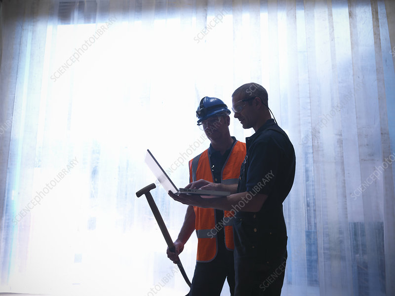 Workers using laptop together