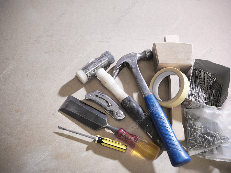 Assorted tools on work surface