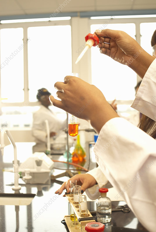 Scientist adding solution to test tube