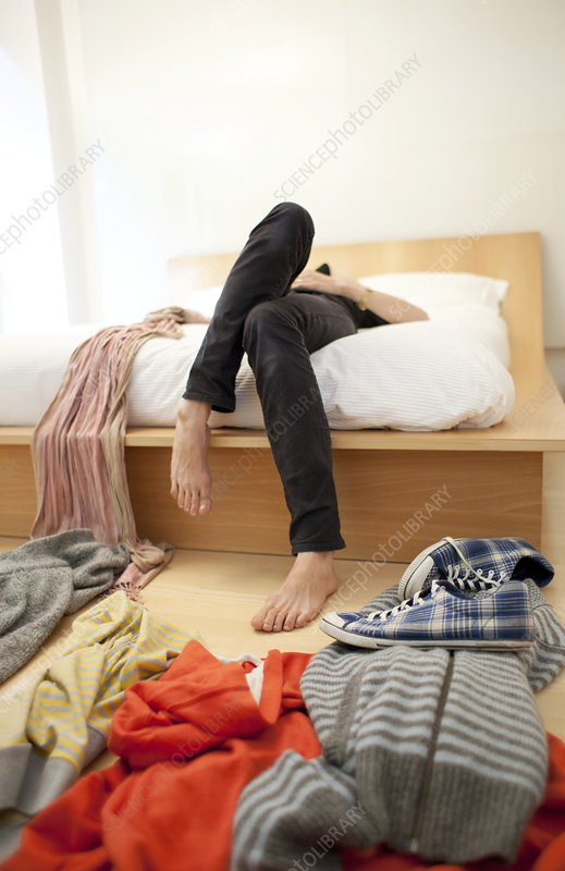 Woman's untidy bedroom