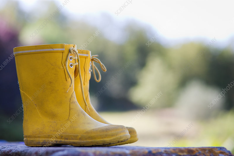 Close up of child's rainboots