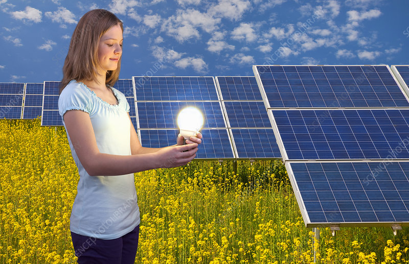 Woman with lightbulb and solar panels