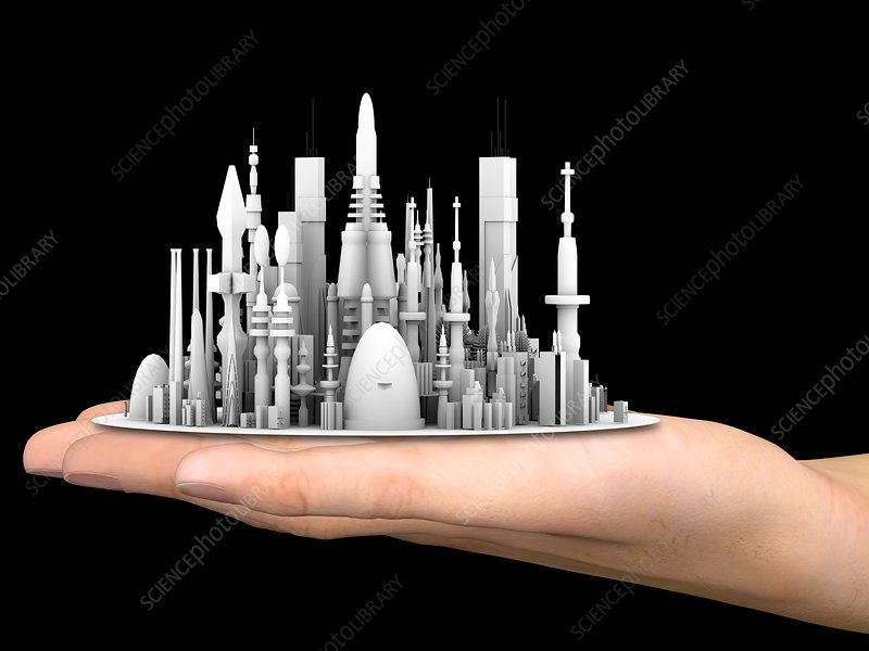 Hand with futuristic city