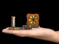 Hand with computer motherboard, artwork