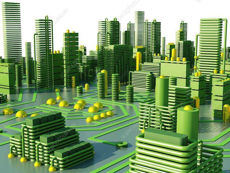 Circuit city, computer artwork - Stock Image F004/3935 - enlarged ...