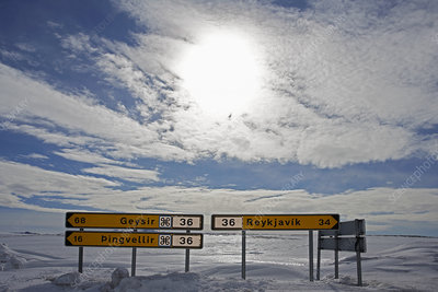 Signs for cities in Iceland