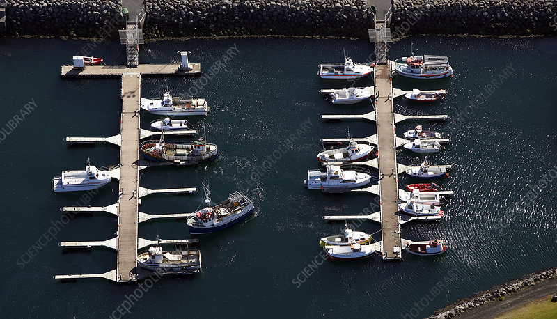 Aerial view of yachts at dock
