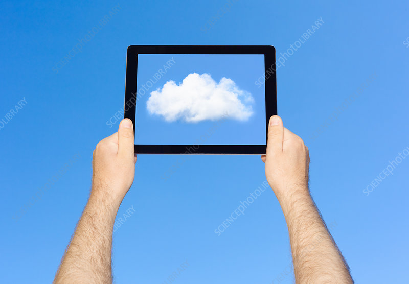 Man viewing cloud on tablet computer