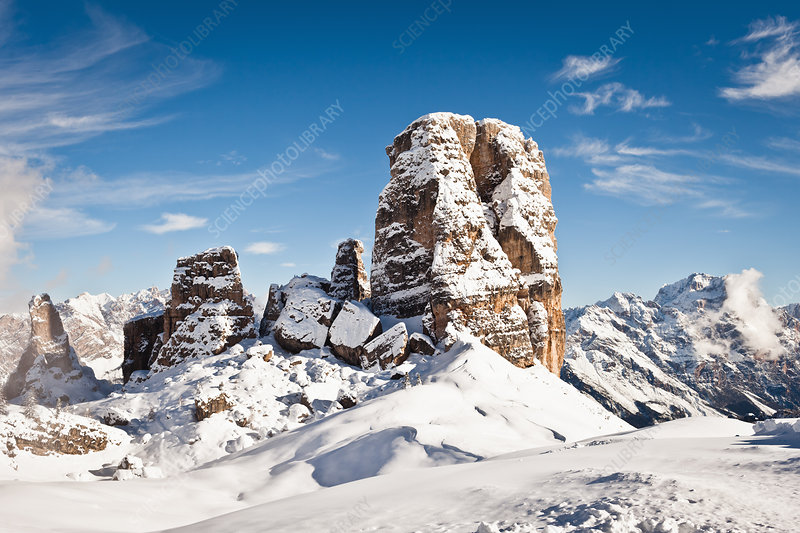 Snow covered rock formations